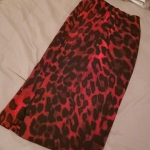 Red and Black Leopard Print Pencil Skirt!